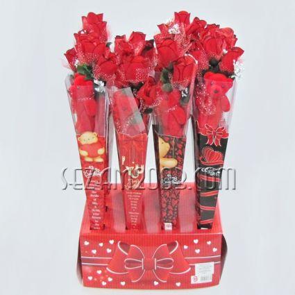 Св.Валентин -Подаръчен букет- рози,мече и пожелание