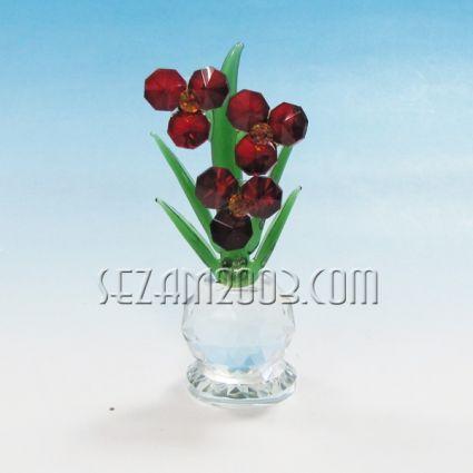 Ваза с цветя фигура от кристал
