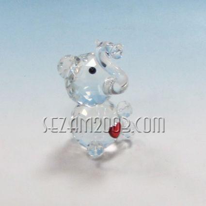 Слонче със сърце - фигурка от кристално стъкло
