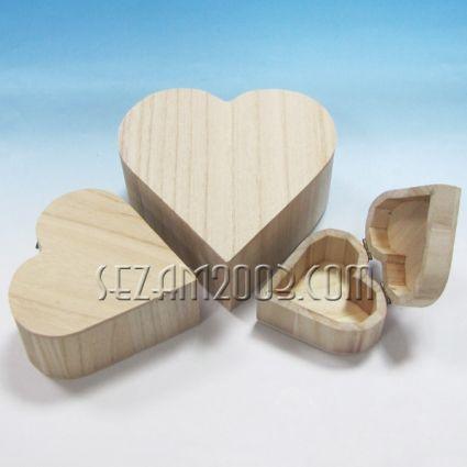Кутии СЪРЦЕ от дърво чисти - 3бр.к-т