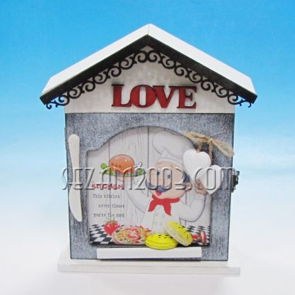 Wooden wall key box decorated