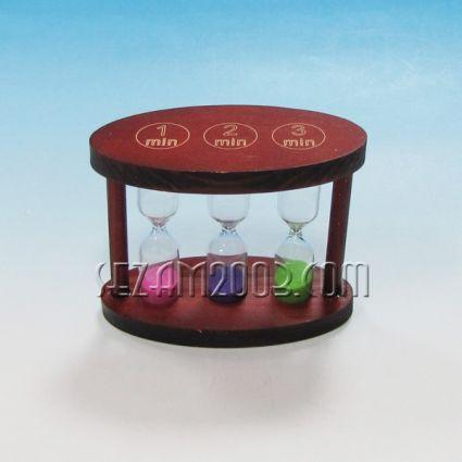 пясъчен часовник от дърво и стъкло с цветен пясък-1,3,5мин
