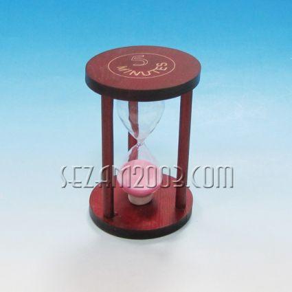 Пясъчен часовник от дърво и стъкло с цв.пясък -5 мин.