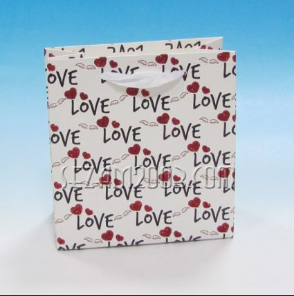Подаръчна торбичка от лукс хартия и брокат - сърца