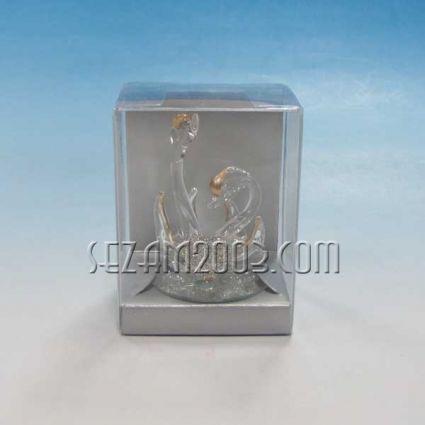 Лебеди 2-ка+сърце-стъклена фигурка +опаковка