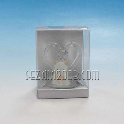 Мече+сърце - стъклена фигурка в подаръчна кутийка