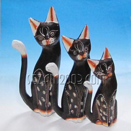 Котки от дърво 3 бр.к-т декорирани