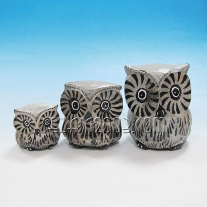 Бухалчета от дърво декорирани 3 броя комплект