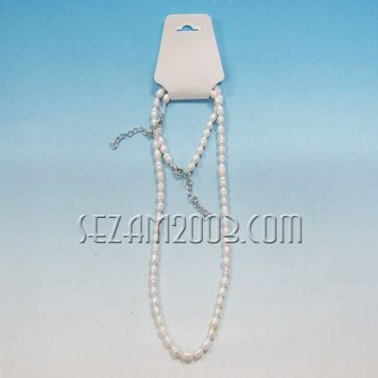 Комплект колие и гривна от речна перла + закопчалки