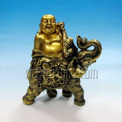 Буда и слон златист - фигура от резин