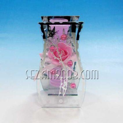 Ваза от стъкло и огледало декорирана