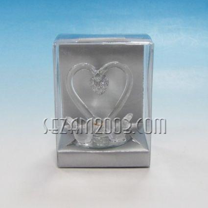 Сърце с  2 пилета - стъклена фигурка в подаръчна кутийка