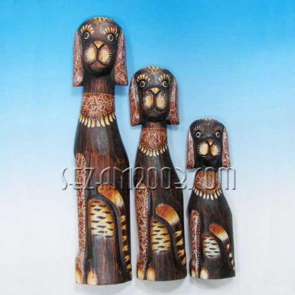 Kучета от дърво 3 бр. комплект декорирани ръчна изработк