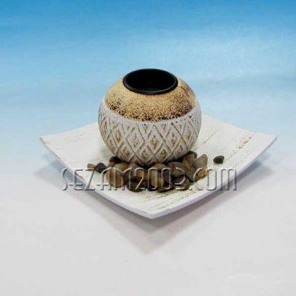 Свещник от мдф с чинийка - декориран+камъчета
