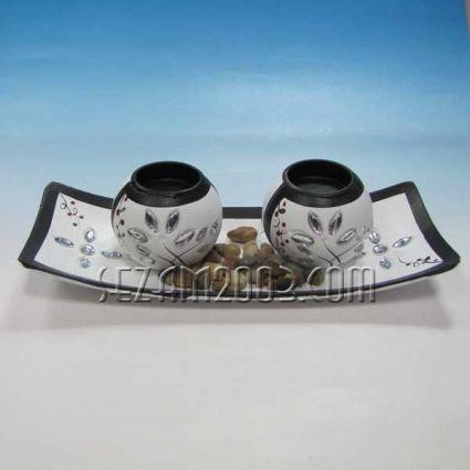 Свещник 2-ка от мдф с поднос - декориран+камъчета