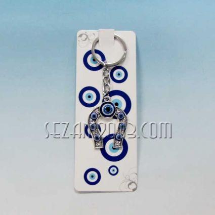 Подкова с камъчета - ключодържател метал + висулки назар