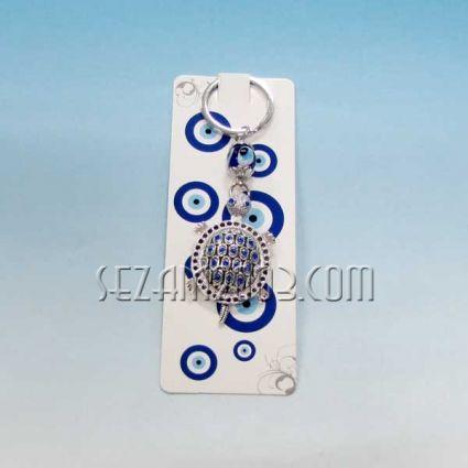 Костенурка с камъчета - ключодържател метал + висулки назар