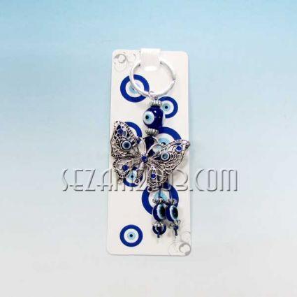Пеперуда с камъчета - ключодържател метал + висулки назар