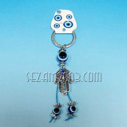 Ръка с камъчета - метален ключодържател с висулки назар