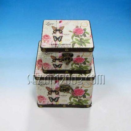 Кутии от мдф и изкуствена кожа - винтидж декор - 2бр.к-т