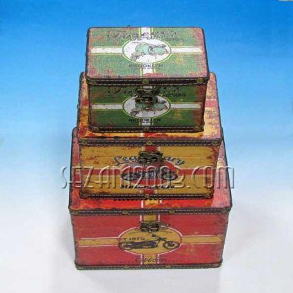 Кутии от мдф и изкуствена кожа - винтидж декор - 3бр.к-т