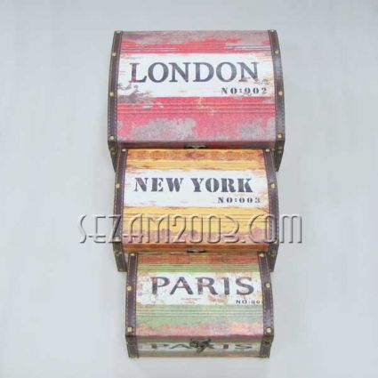 Кутии от мдф и изкуствена кожа - винтидж декор - 3 бр.к-т