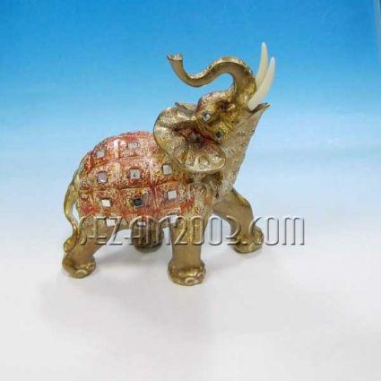Слон декориран - фигура от полирезин