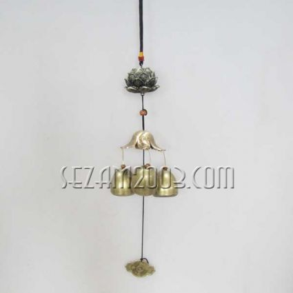 pendant / wind bell from brass with lotus figure