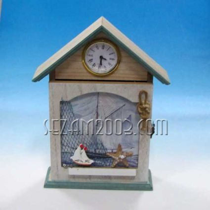 MDF key box + clock + marine decor