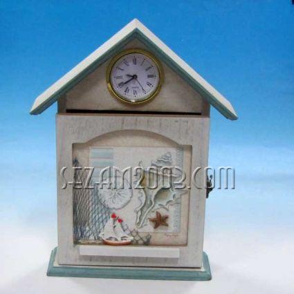 Кутия за ключове от мдф + часовник + морски декор