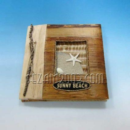 Албум за снимки - 10 листа - еко материали с надпис от пясък - Слънчев бряг