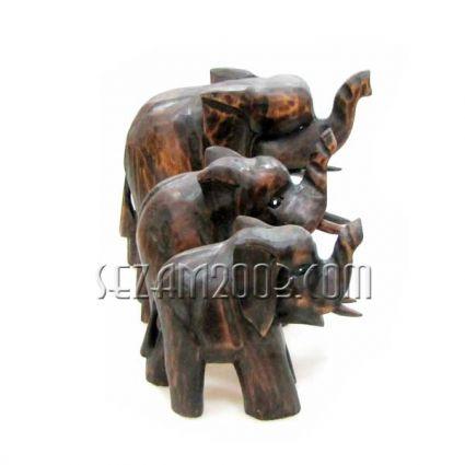 СЛОН от дърво - 3 бр.комплект декорирани