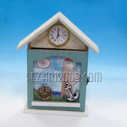 Кутия за ключове от дърво за стена или настолна -морски декор + часовник