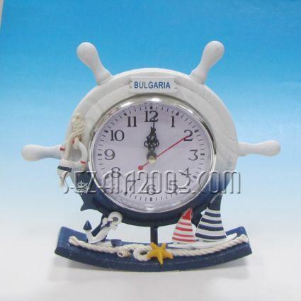Морски рул - часовник от  дърво декориран