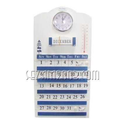 Вечен календар МОРСКИ декор+часовник+термометър стенен от дърво+ БГ