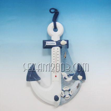 Морска декорация - КОТВА+термометър за стена от дърво+ БГ