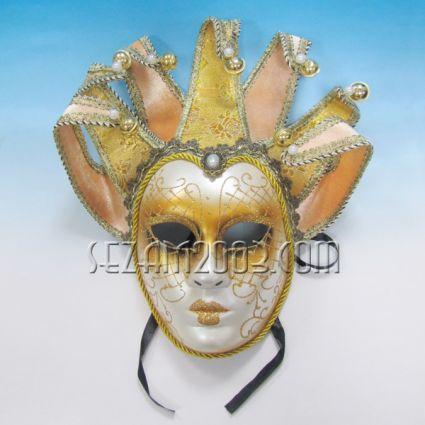 Маска тип Венеция 7пискюла златна от пластмаса и плат - стенна