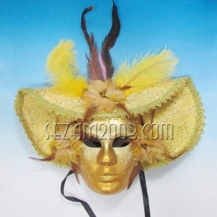 Маска тип Венеция шапка златна от пластмаса и плат - стенна