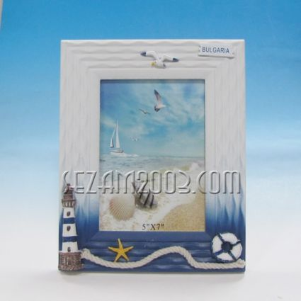 Photo frame from MDF with sea decor