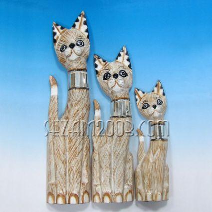Котки от дърво декорирани 3бр.комплект