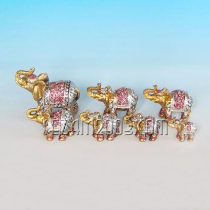 Слончета декорирани от резин 7 бр.к-т