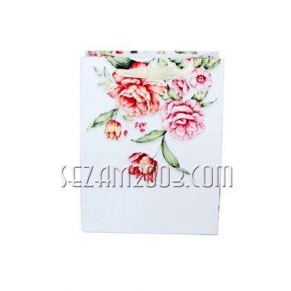 Подаръчна торбичка от лукс хартия - цветя