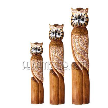 Бухали от дърво декорирани 3бр.к-т