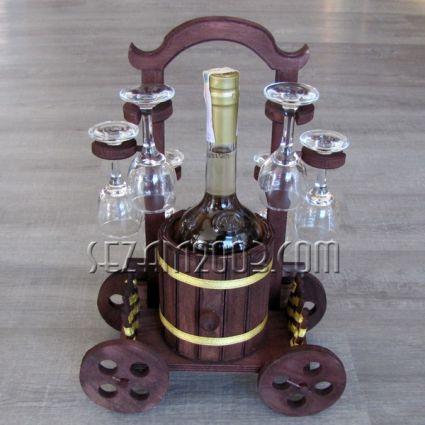 БУРЕ - поставка за бутилка от дърво  + ракия + 6 чаши