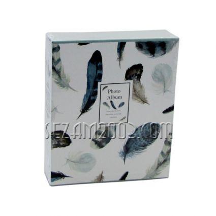 Албум от лукс картон за 80 снимки в джоб -  декор с пера