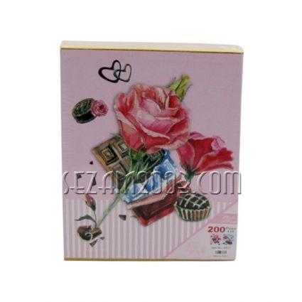 Албум от лукс картон за 80 снимки в джоб -  декор - ЦВЕТЯ
