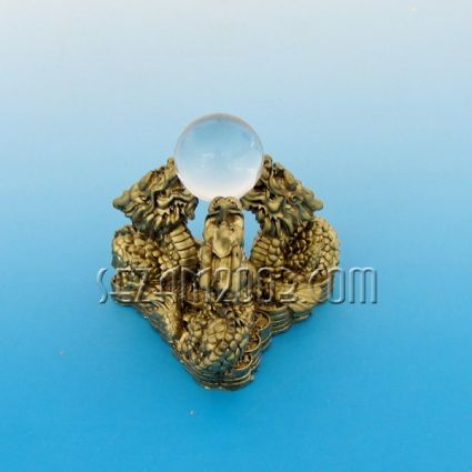 Три Дракона с кристална сфера - фигура фън шуй