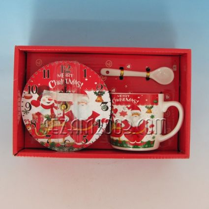 Christmas gift - porcelain cup + wall clock from MDF in luxury box