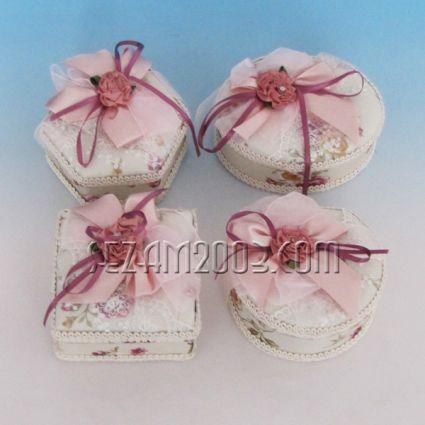 Кутия за бижута от плат с огледало - 4 форми