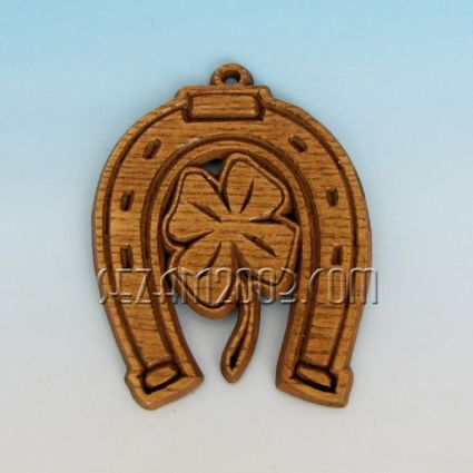Horseshoe with clover - wooden pendant